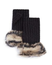 UGG - Black Australia Lurex Crochet Gloves With Shearling Sheepskin Cuff - Lyst