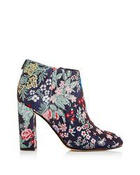 Sam Edelman Blue Campbell Floral Jacquard Block Heel Booties