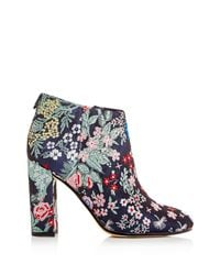 Sam Edelman | Blue Campbell Floral Jacquard Block Heel Booties | Lyst