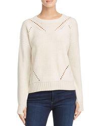 Aqua | White Sophia Drop Stitch Crewneck Sweater | Lyst