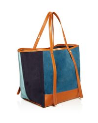 See By Chloé Blue Andy Color Block Suede Tote