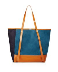 See By Chloé | Blue Andy Color Block Suede Tote | Lyst