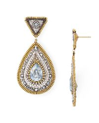 Miguel Ases | Metallic Beaded Teardrop Earrings | Lyst