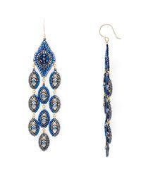 Miguel Ases   Blue Peacock Chandelier Drop Earrings   Lyst