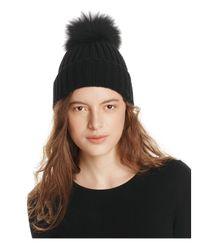 Yves Salomon Black Fur Pompom Hat