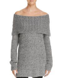 Aqua | Gray Off-the-shoulder Sweater | Lyst