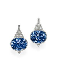 Judith Ripka - Sterling Silver La Petite Oval Earrings With Lab-created Blue Corundum And White Sapphire - Lyst