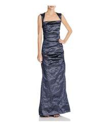 Nicole Miller   Blue Felicity Techno Metallic Gown   Lyst