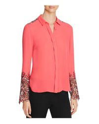 Elie Tahari | Pink Ramona Floral Lace Panel Silk Blouse | Lyst