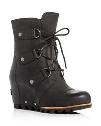 Sorel | Black Joan Of Arctic Lace Up Wedge Booties | Lyst