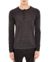 Sandro | Gray Heathered Henley Sweater for Men | Lyst