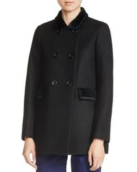 Maje | Black Galakie Double-breasted Short Coat | Lyst