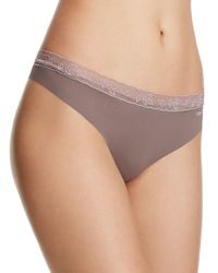 Calvin Klein Pink Invisibles With Lace Thong #d3517