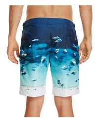 Orlebar Brown Blue Dane Ii Photographic Boat Party Board Shorts for men