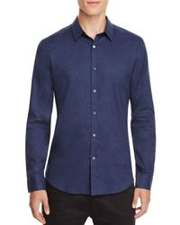 Theory | Blue Zack Heathered Slim Fit Button-down Shirt for Men | Lyst
