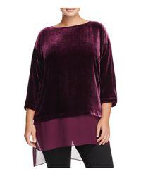 Eileen Fisher | Purple Sheer Hem Velvet Top | Lyst