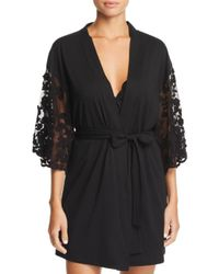 Flora Nikrooz Black Alexiss Embroidered-sleeve Robe