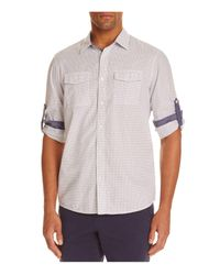 Michael Kors | Blue Check Roll Sleeve Slim Fit Button-down Shirt for Men | Lyst