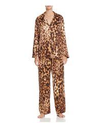 Natori | Natural Leopard Print Notch Collar Pajama Set | Lyst