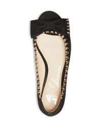 Delman Black Sami Peep Toe Bow Flats