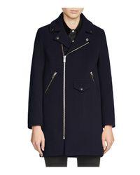 Maje | Blue Garius Mid-length Moto Coat for Men | Lyst