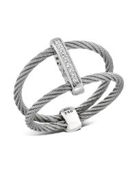 Alor | Gray Double Cable Ring With Diamonds | Lyst