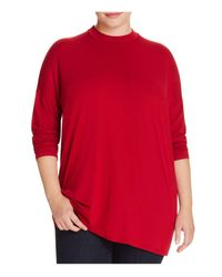 Eileen Fisher | Red Mock Neck Jersey Top | Lyst