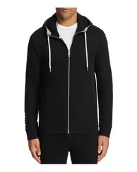 BOSS Orange | Black Zports Textured Zip Hoodie Sweatshirt for Men | Lyst