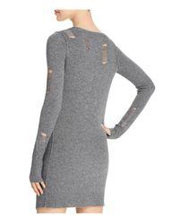 Pam & Gela Gray Shredded Sweater Dress