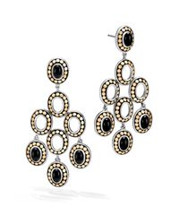 John Hardy - Metallic Sterling Silver And 18k Bonded Gold Dot Gold Chandelier Earrings With Black Onyx - Lyst