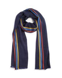 Paul Smith | Blue Stripe Wool Blend Scarf | Lyst