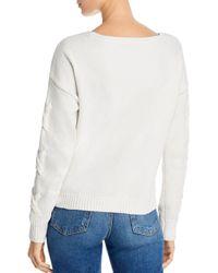 Aqua White Lace - Up Sleeve Chenille Sweater
