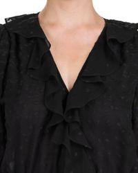 The Kooples Black Dot - Embroidered Peplum Blouse