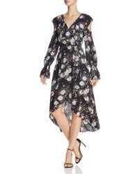 Aqua Black Cold-shoulder Faux-wrap Dress