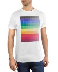Vestige White Rainbow Pixels Graphic Tee for men