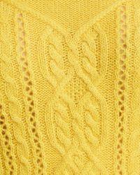 Aqua - Yellow Cashmere Mixed Knit Cashmere Sweater - Lyst