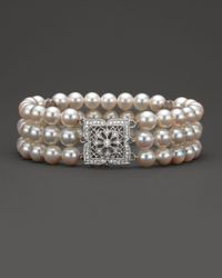 Bloomingdale's - Metallic Cultured Freshwater Pearl And Diamond Bracelet In 14 Kt. Gold, 6.5mm - Lyst