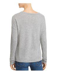 Minnie Rose - Gray Cutout Cashmere Sweater - Lyst