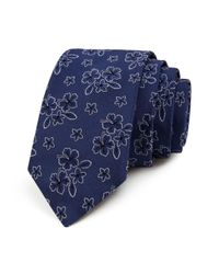 Ted Baker - Blue Floral Hibiscus Classic Tie for Men - Lyst
