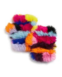 Jocelyn Multicolor Knit Rabbit Fur Fingerless Gloves
