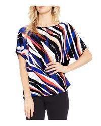 Vince Camuto Black Abstract Zebra Front Top