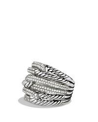 David Yurman Metallic Labyrinth Triple - Loop Ring With Diamonds