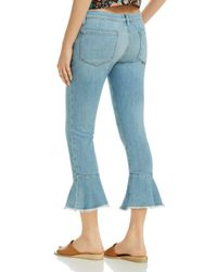 FRAME - Blue Le Skinny De Jeanne Flounce Raw-edge Jeans In Limerstone - Lyst