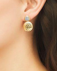 John Hardy Metallic Palu 18k Gold & Diamond Pavé Double Drop Earrings