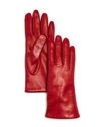 Bloomingdale's - Red Cashmere-lined Leather Gloves - Lyst