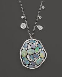 Meira T Blue 14k White Gold Mosaic Opal Pendant Necklace