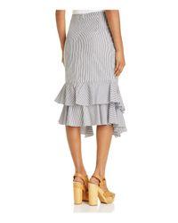 Aqua Black Striped Tie-waist Skirt
