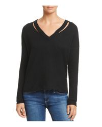 Minnie Rose - Black Cutout Cashmere Sweater - Lyst