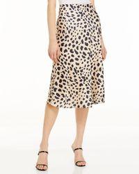 Aqua Black Satin Midi Slip Skirt
