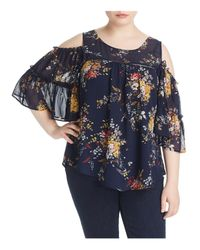 Lucky Brand - Blue Cold Shoulder Ruffle Top - Lyst